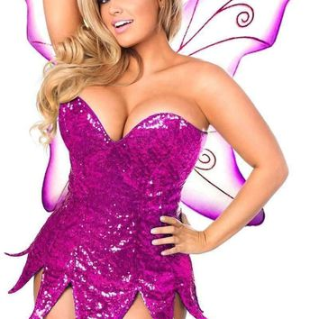 Daisy Top Drawer Pink Sequin Fairy Corset Dress Costume