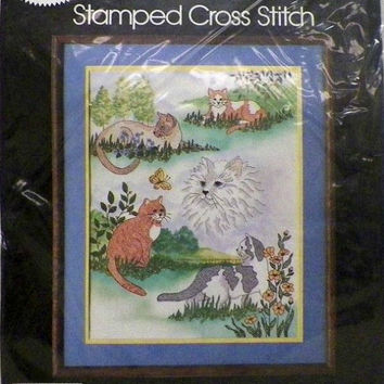 Golden Bee Cat Collage Picture Stamped Cross Stitch Kit 20293 Vintage New