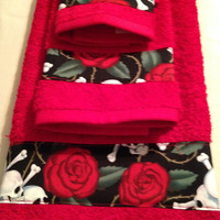 Red, 3 piece, gothic Resting In Roses towel set, Bath Decor, Bath Accessories, hand towel, embroidered personalized towels, skulls and bones