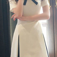 Bow Tie Collar White Pleated Dress