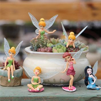 Free Shipping 6pcs/set Anime Cartoon Tinkerbell Fairy PVC Action Figure Toys Girls Dolls Gift Garden Decoration