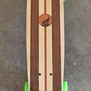 "22 inch  Mini Penny kicktail Skateboard ""Rincon"" with wolf inlay, complete"