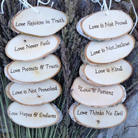 Set of TEN Corinthians Decorations 'Love is Patient, Love is Kind', 1.Cor.13: Rustic Wedding Tokens Birch Log Slices