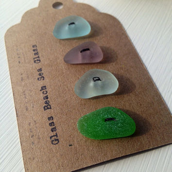 Beach Glass Vintage Buttons Authentic sea glass