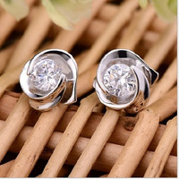womens fashion 925 Sterling Silver Flower Rose Pattern Crystal White Rhinestones stud Earrings = 1668693380
