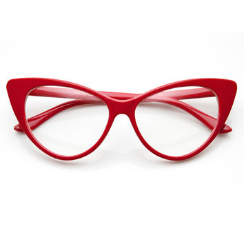 TWIGGY CAT EYE RETRO CLEAR FRAMES - RED - Red