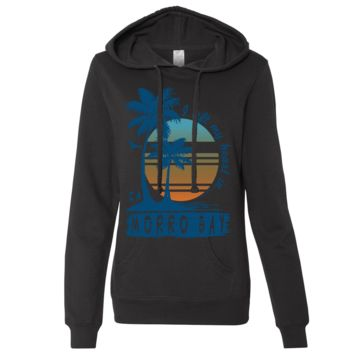Morro Bay Palm Trees Ladies Lightweight Fitted Hoodie