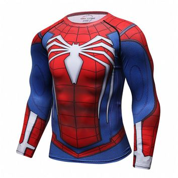Men Spiderman Compression Shirts Fitness 3D Printed T Shirts  Long Sleeves TShirt MMA Bodybuilding Crossfit Workout Tee Shirt