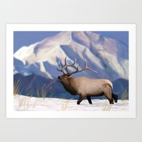 Elk in the snow  Art Print by North Star Artwork