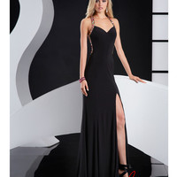 Black Jersey & Multicolour Bead Prom Gown