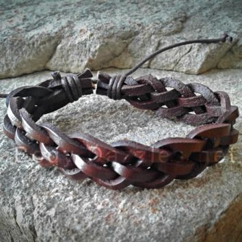 Brown Braided Adjustable Unisex Leather Weave Wrap Bracelets