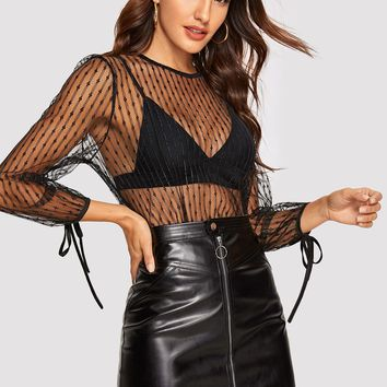 Knot Cuff Sheer Mesh Top Without Bra
