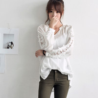 Crochet Lace Chiffon Loose Blouse