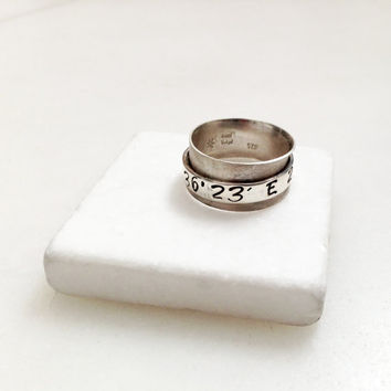 Spinner Ring, Coordinates Sterling Silver Wide Band Latitude Longitude Coordinates, Made to Order Custom Ring, Personalized Unisex Jewelry