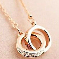 Yellow Gold Filled Round Necklace & Pendant Double Circle Necklace