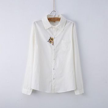 05b4d26a7a4 White Blouse Women Work Wear Cotton Lace Embroidery Turn-Down Co