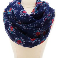 Floral Print Infinity Scarf by Charlotte Russe - Bright Blue Combo