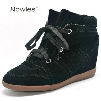 Bobby Fashion Sneakers Women's Boots Wedges Shoes Genuine Leather Height Increasing 7cm Ankle Boots Women's Shoes Casual Shoes