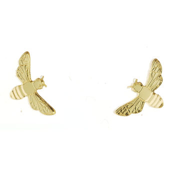 Bee Earrings in Mirror Gold