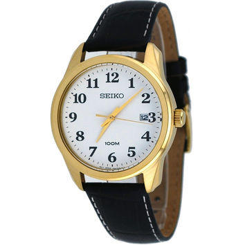 Seiko SGEG18 Men's Easy Reader White Dial Black Leather Strap Gold Tone Steel Watch