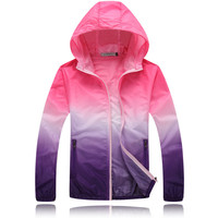 Couples Thin Windbreaker Fast Dry Sun Proof Transparent Jacket Single Layer Plus Size S-4xl Basic Quality Outwear