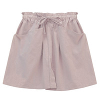 Solid Color Drawstring Waist Mini Skirt
