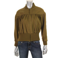 Catherine Malandrino Womens Twill Knit Trim Cropped Jacket