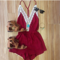 Love Quest Lace Romper - Wine