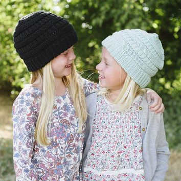 WENDYWU Wool Knitted Baby Girls Boys Winter Caps 2017 Warm Beanies Baggy Hats For Kids Faux Fur Crochet Cotton Hat