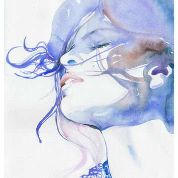 Print of Watercolour Painting, Portrait, Fashion Illustration Print  - Eva