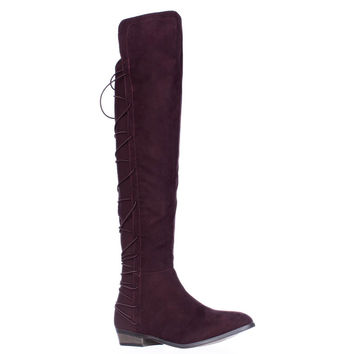 MG35 Cayln Over-the-Knee Strappy Boots, Wine, 6 US