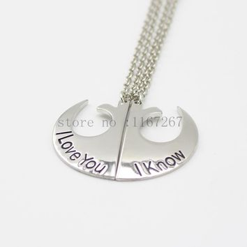 """2015 new style Star Wars Rebel Insignia Love couples Necklace (2 pcs 1 set)""""I love you """" I know"""" siver pendant necklace"""