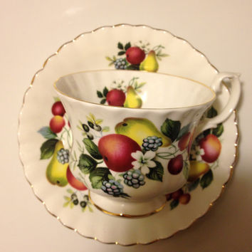 Royal Albert Bone China England Teacup and Saucer Footed Berries Fruit Design