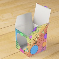 Cute rainbow baby rattle pattern party favor boxes