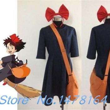 New Kiki Delivery Service Cosplay Garment Costume+Bag+Hairband Customize Any Size Free shipping