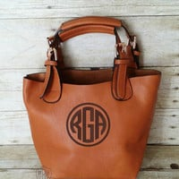Monogrammed Small Caramel Brown Crossbody Bag - Convertible Personalized Purse - Monogram Cross body - Tawny Shoulder Bag - 2 bags in 1