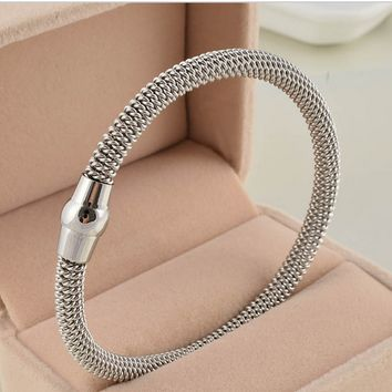 Stainless Steel Silver Plated Charm Bracelet