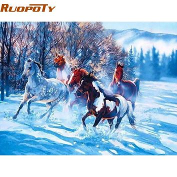 RUOPOTY Horse animals DIY painting by numbers Acrylic picture wall art canvas painting home decor unique gift 40x50cm artwork