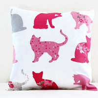 Cat cushion cover, small 12 inch pillow cover with grey and pink cats perfect kid's room decor, small throw pillow , handmade in the UK
