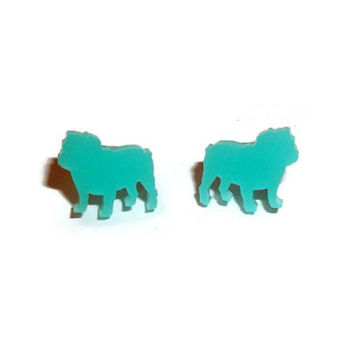 Bulldog Earrings, Mint Green Small Dainty Cute Kawaii Dog Stud Earrings, Pastel, Animal Jewelry British Bulldog
