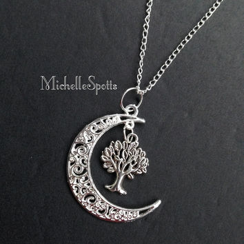 Crescent Moon Necklace Tree of Life Necklace Charm Bracelet
