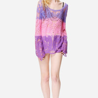Pink Purple Embroidered Mesh Blouse