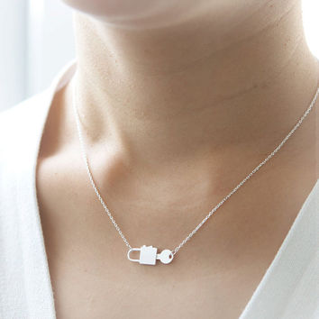 Key and Lock Necklace in silver