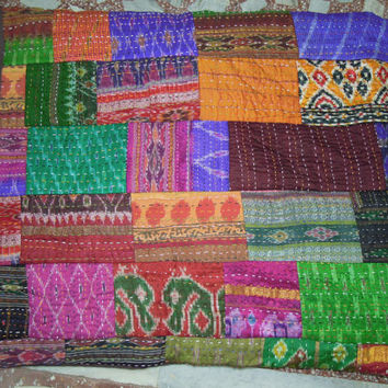 Antique Indian Quilt -Vintage Patola Silk Sari Kantha Quilted Patchwork Bedspreads,Throws,Ralli,Gudari Handmade Bedding