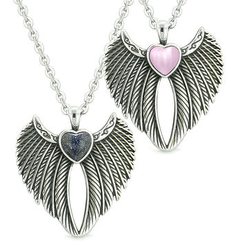 Angel Wings Magic Hearts Love Couples or Best Friends Blue Goldstone Pink Simulated Cats Eye Necklaces
