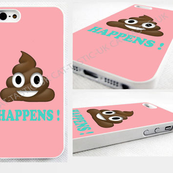 Poop happens, Emoji iPhone 4s,5C,5S,6 plus,samsung galaxy glossy cover Case,pink