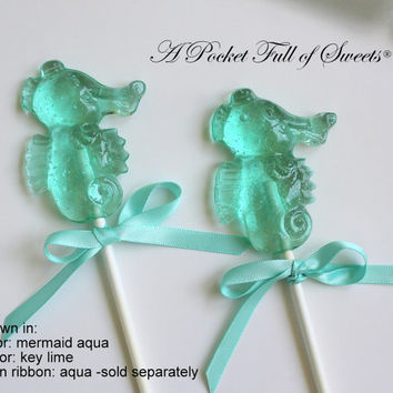 12 MERMAID PARTY Seahorse Lollipops Beach Wedding Birthday Hard Candy Barley Sugar Lollipops Gifts Seahorses Favors The Little Mermaid Party