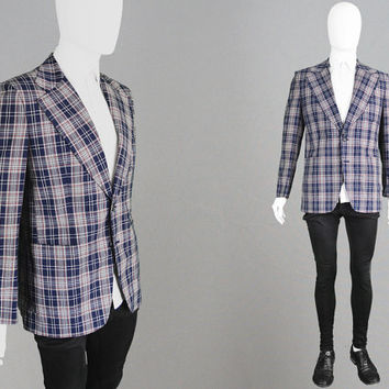Vintage 70s Checked Blazer Mens Plaid Jacket Mens Tartan Blazer Wide Lapels 1970s Sport Coat Mens Mod Jacket Polyester Blazer Preppy Jacket
