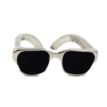 Silver Color Block Sunglasses Shape Ring