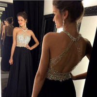 Long prom dress black prom dress, open back prom with Halter Neckline pst0680